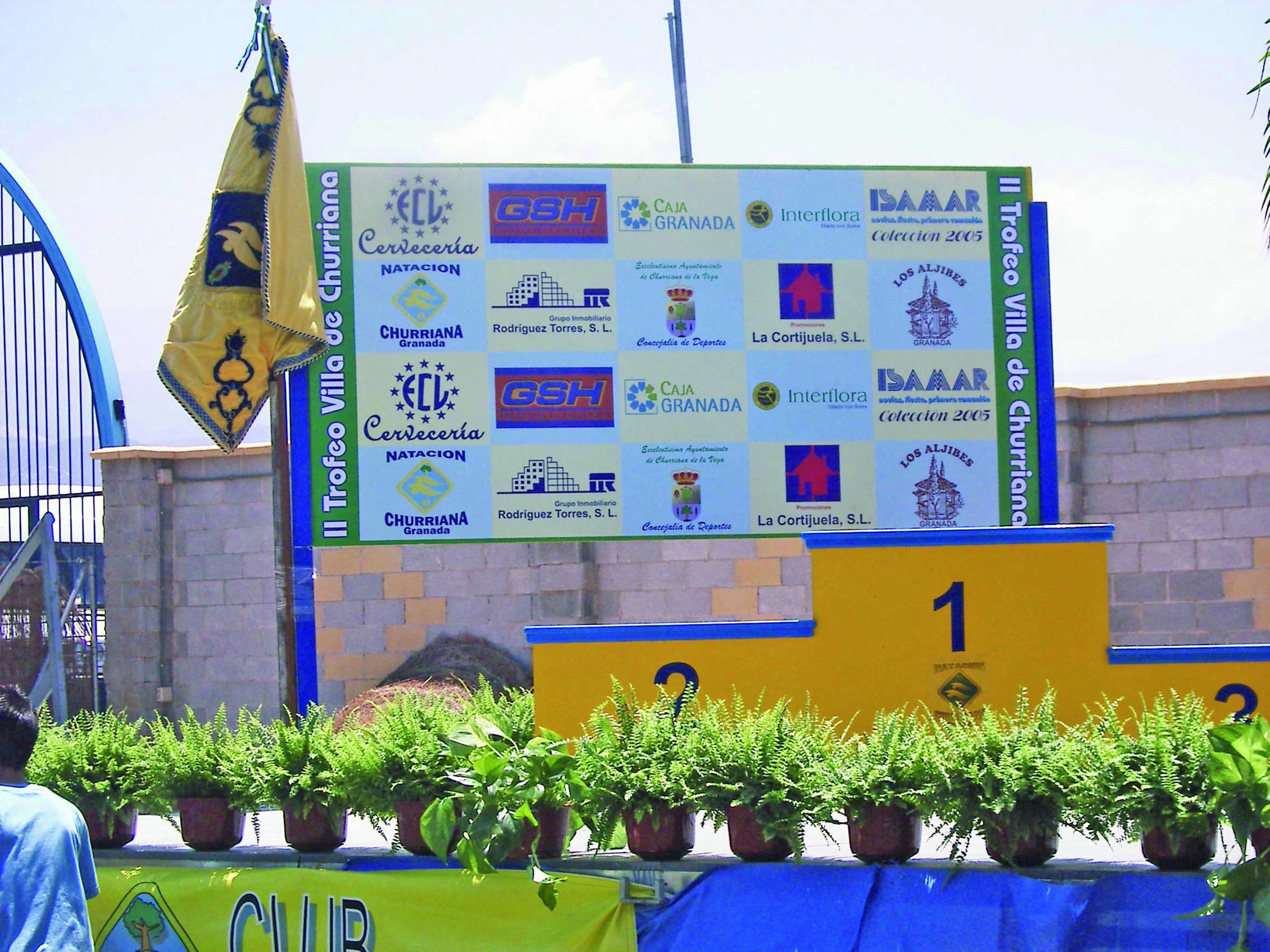 Photocall patrocinadores para podium deportivo. Policarbonato impreso.